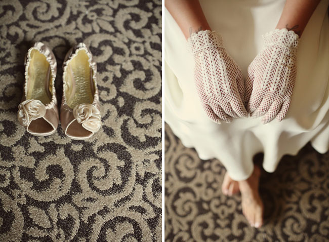 short cotton gloves at a backyard wedding