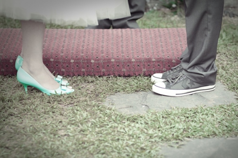 green shoes wedding shoes and grey chucks