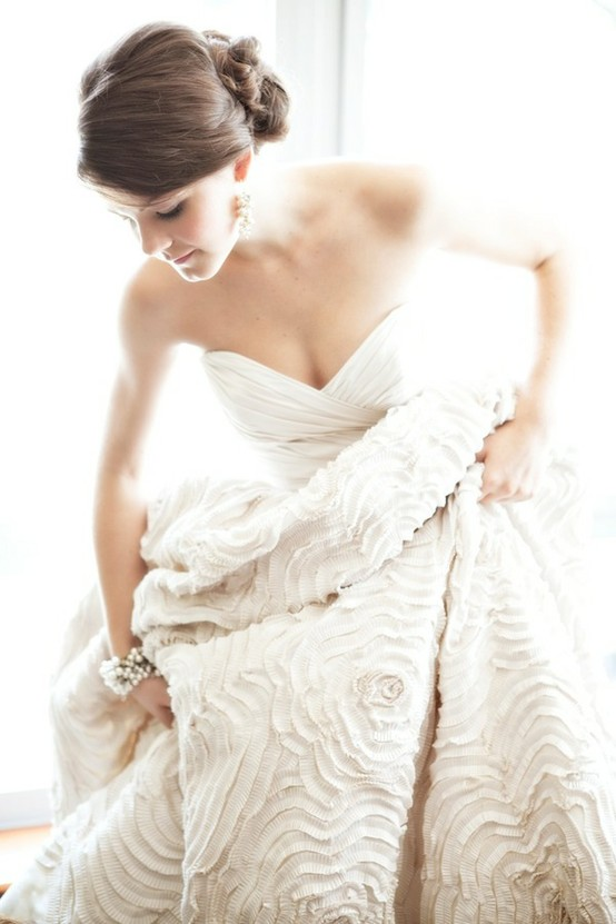 wedding gown with lots of texture