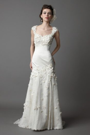 lacy gown with shoulder caps and texture