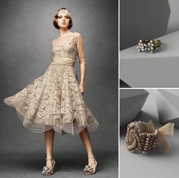 BHLDN short bridal dress with vintage ring and bracelet