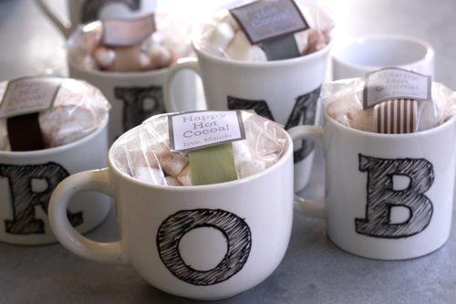 monogrammed mugs with hotchocolate