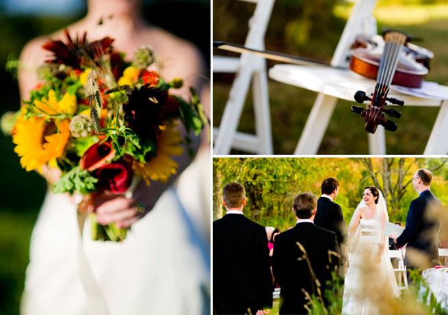bridal bouquet violin and wedding ceremony