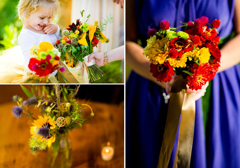 Orange bouquet and royal blue bridesmaid dress