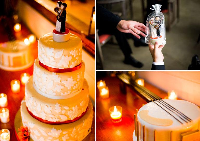 wedding cake, handmade topper and banjo grooms cake
