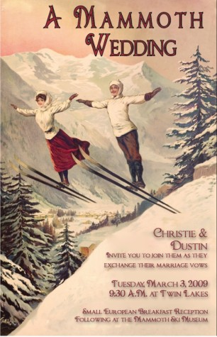 19th century Vintage ski poster wedding invitation