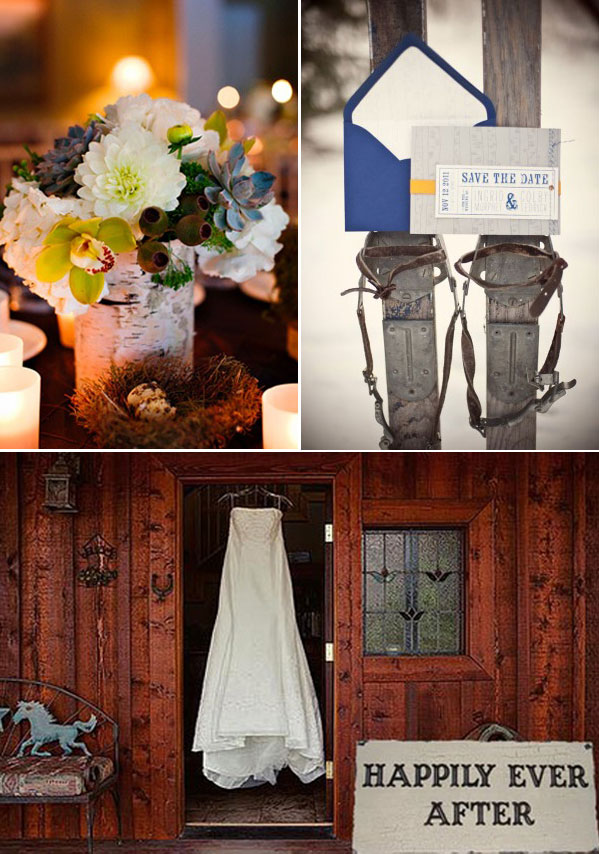 vintage skis, bridal gown, winter centerpiece