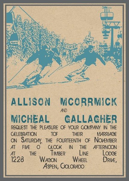 old school vintage aspen poster ski wedding invitation