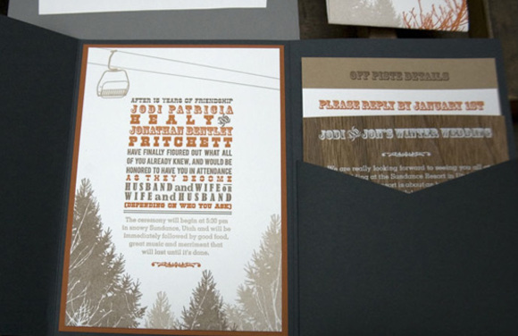 chair lift in the pine trees wedding invitation