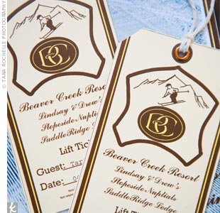 elegant brown and white ski wedding invitation