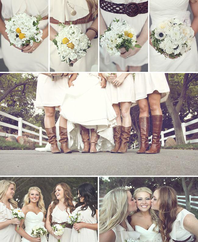bridesmaids in tan riding boots