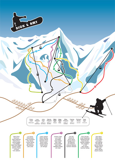 trail map snowboard wedding invitation
