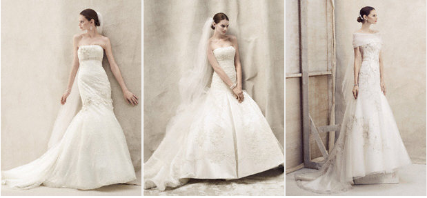three Elegant davids bridal gowns