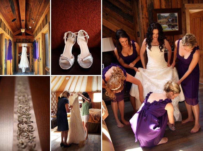 Bridal details and bridesmaids helping