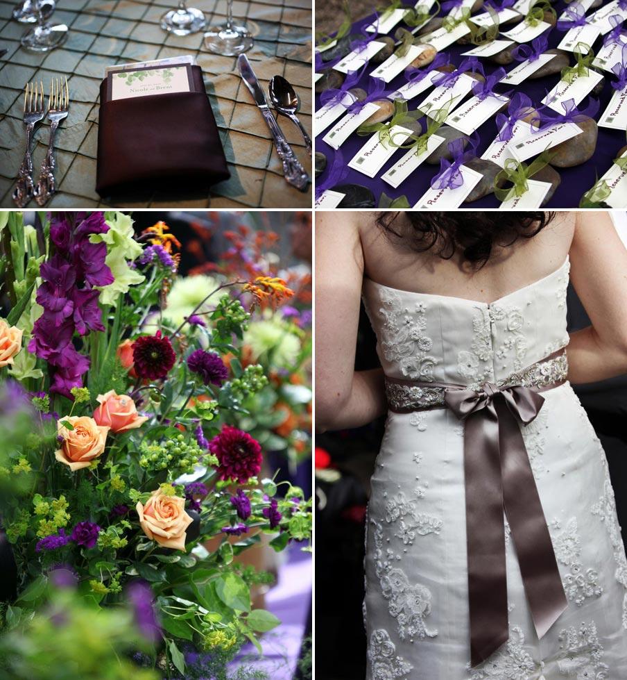 purple wedding reception details
