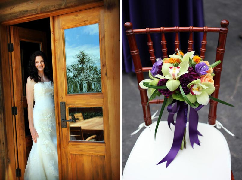 purple and green bouquet and bride