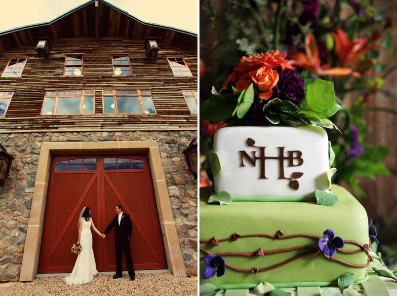 Purple Mountain Wedding Bride and Groom and wedding cake