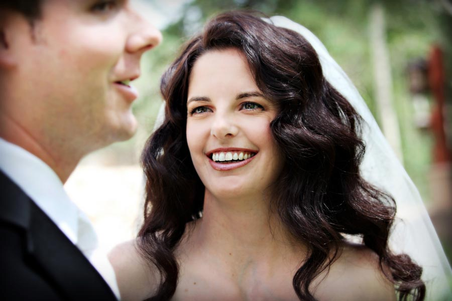Bride and groom portrait by Sparkle Photo