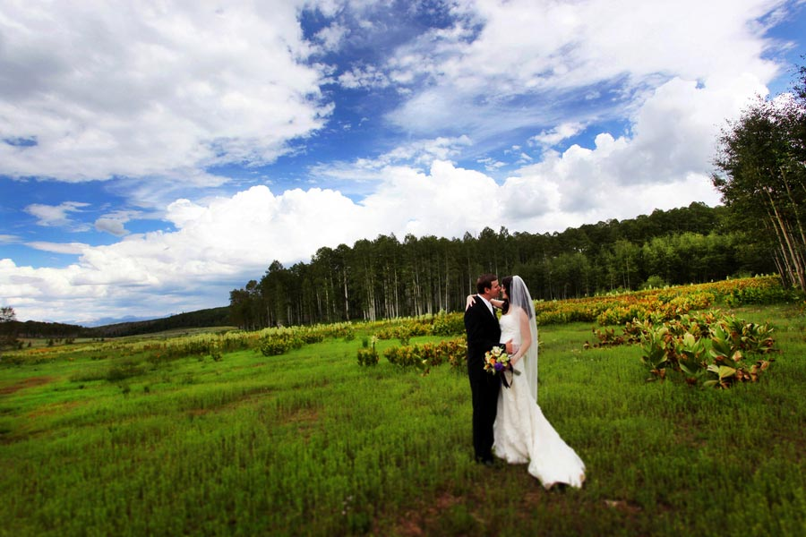 bride and groom in an alpine meadow