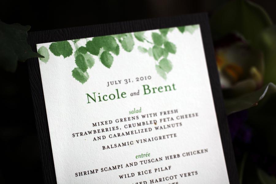 green leaf watercolor invitation