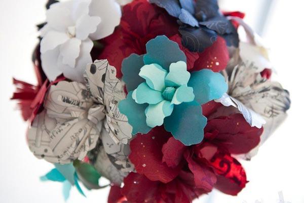 red, blue, and teal paper wedding bouquet