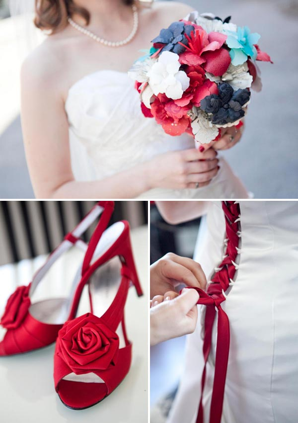 red wedding details with paper flower bouquet