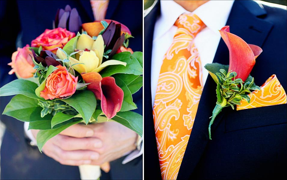 Groom in an orange tie holds an orange and green bouquet