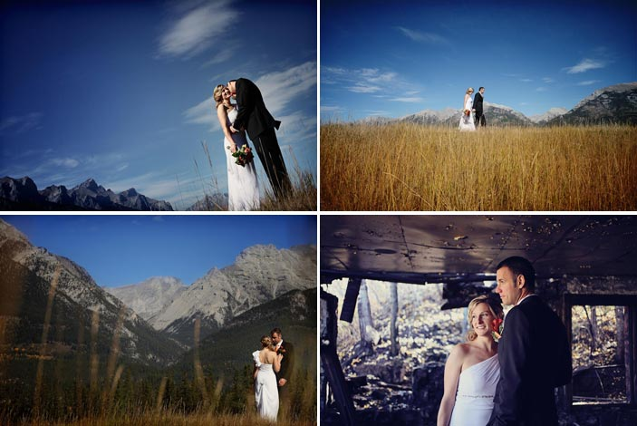 Bride and groom pose with teh Canadian Rockies in teh Background