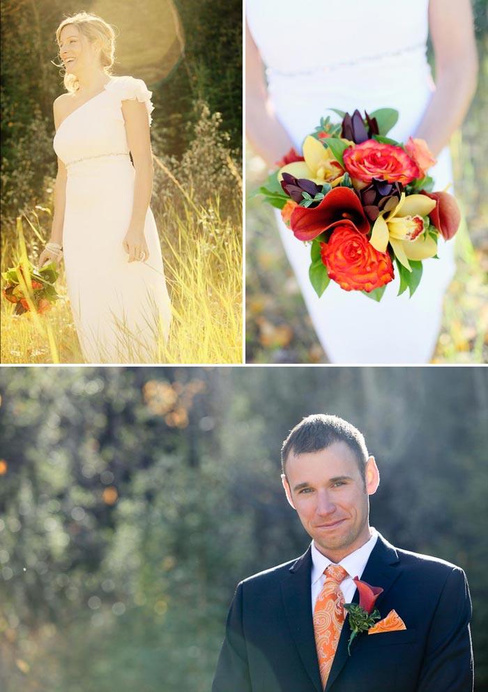 Bride standing in a golden field holding an orange bouquet