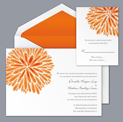 fun bright orange wedding invitation by Davids Bridal
