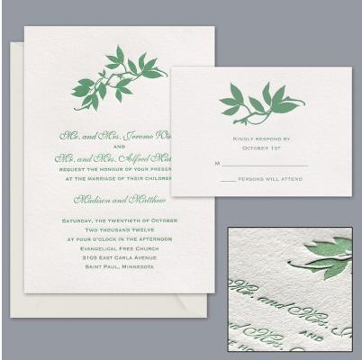 green leaf eco-friendly letterpress wedding invitation by Davids Bridal