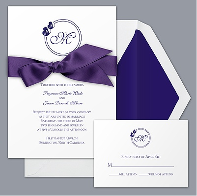Davids Bridal Purple with Butterfly and ribbon Budget Wedding Invitation