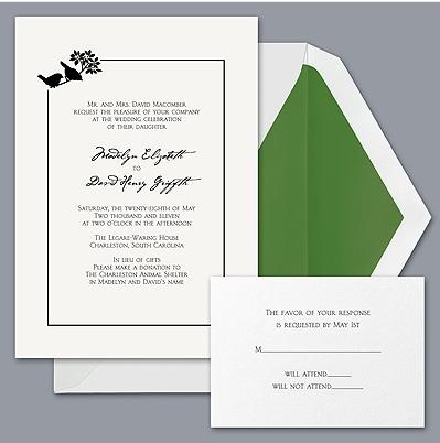 Davids Bridal Green with Birds Budget Wedding Invitation