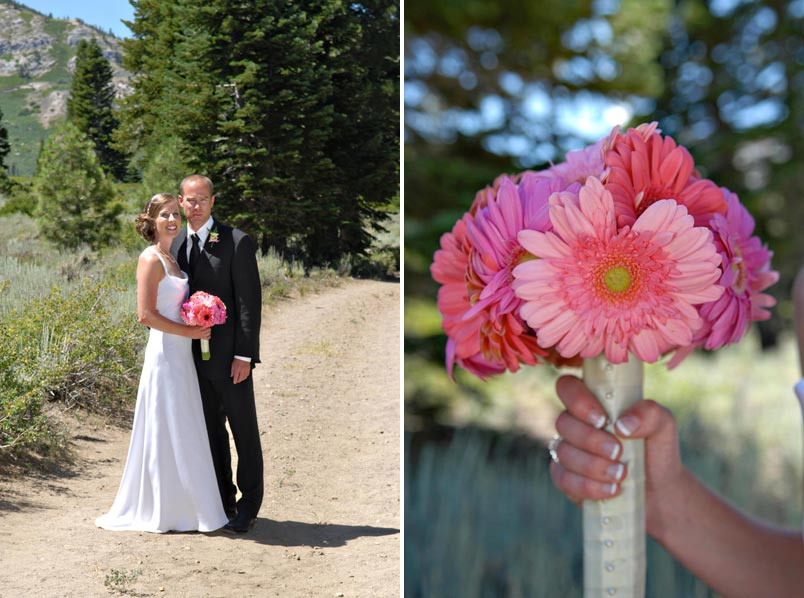 mammoth mountain bride and groom with Gerber daisy bouquet