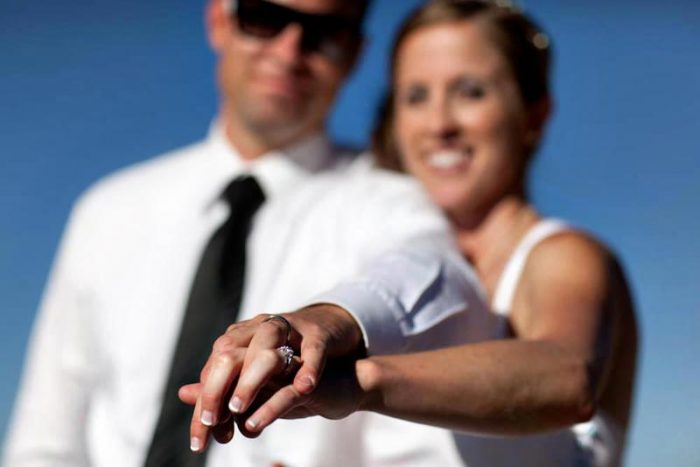 mammoth mountain bride and groom show off their rings