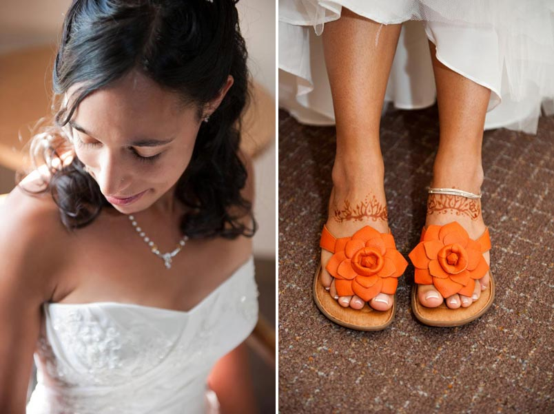 orange bridal shoes