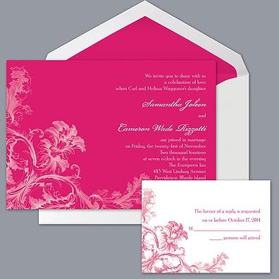 hot pink wedding invitation by Davids Bridal