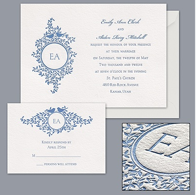 bird and monogram eco-friendly letterpress wedding invitation by Davids Bridal