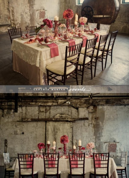 Small wedding reception with pink and roses