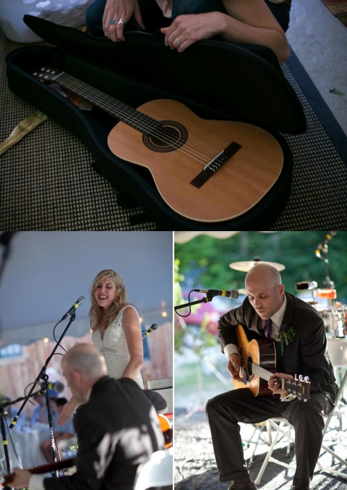 Bride and groom play music at their wedding