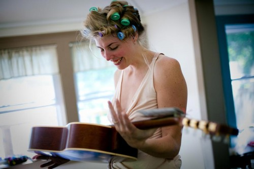 Bride takes out guitar for ceremony