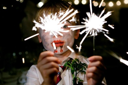 Face painting with sparklers