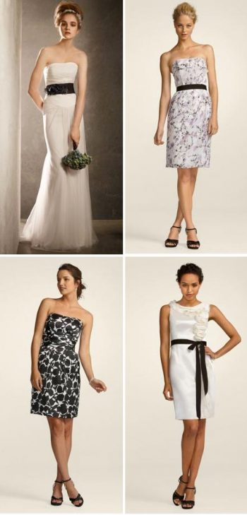 black and white davids bridal bridesmaids dresses