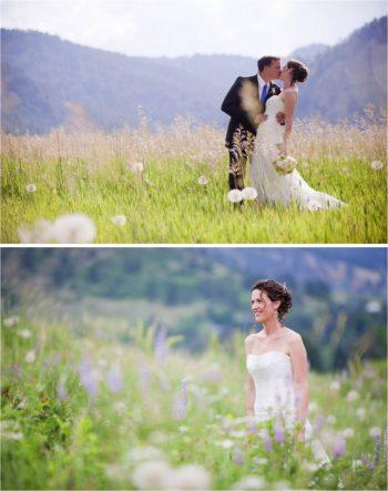 Boulder Colorado Wedding Portraits in a wildflower filled meadow