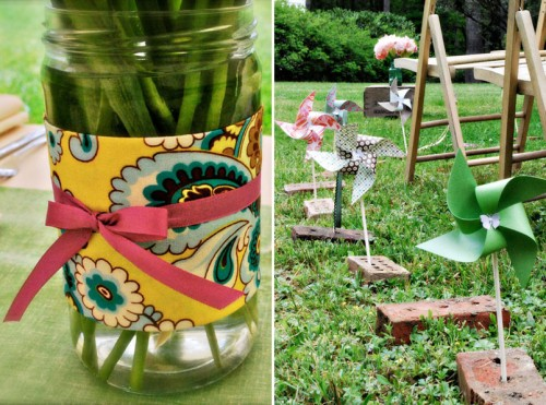 DIY Fabric wrapped mason jars and pinwheels