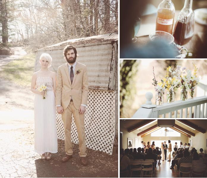 Down home wedding with homemade cider and wildflowres in Asheville NC