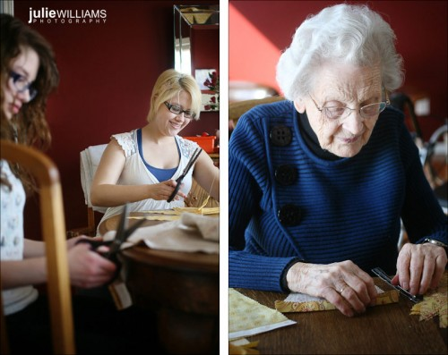 friends and grandmother help with DIY projects