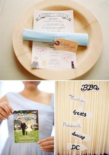 Bamboo plates, custom hand drawn wedding invitation, and hand painted wedding sign
