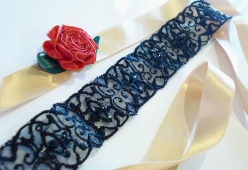 Black lace bleu garters custom garters