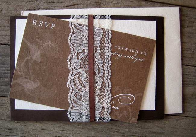 lace wrapped wedding invitations